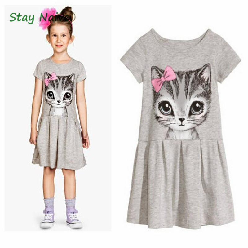 3bf0c043d فتاة فساتين 2018 أزياء الاطفال القط طباعة الكرتون رمادي الوردي طفلة ملابس  الأطفال ارتداء 2-7Y