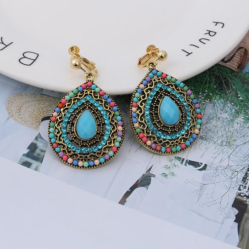 Bohemian Vintage Resin Multicolor Bead Clip Earrings For Women Withuot Piercing Ethnic Large Dangle Ear Clip Statement Jewelry