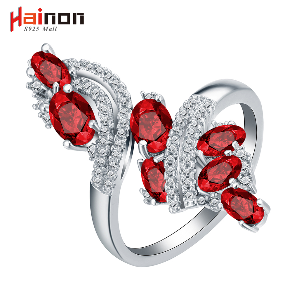 Vintage Jewelry Created red cz Engagement Rings For Women Silver Plated Rainbow CZ Gem Austrian Crystal Ring drop shipping