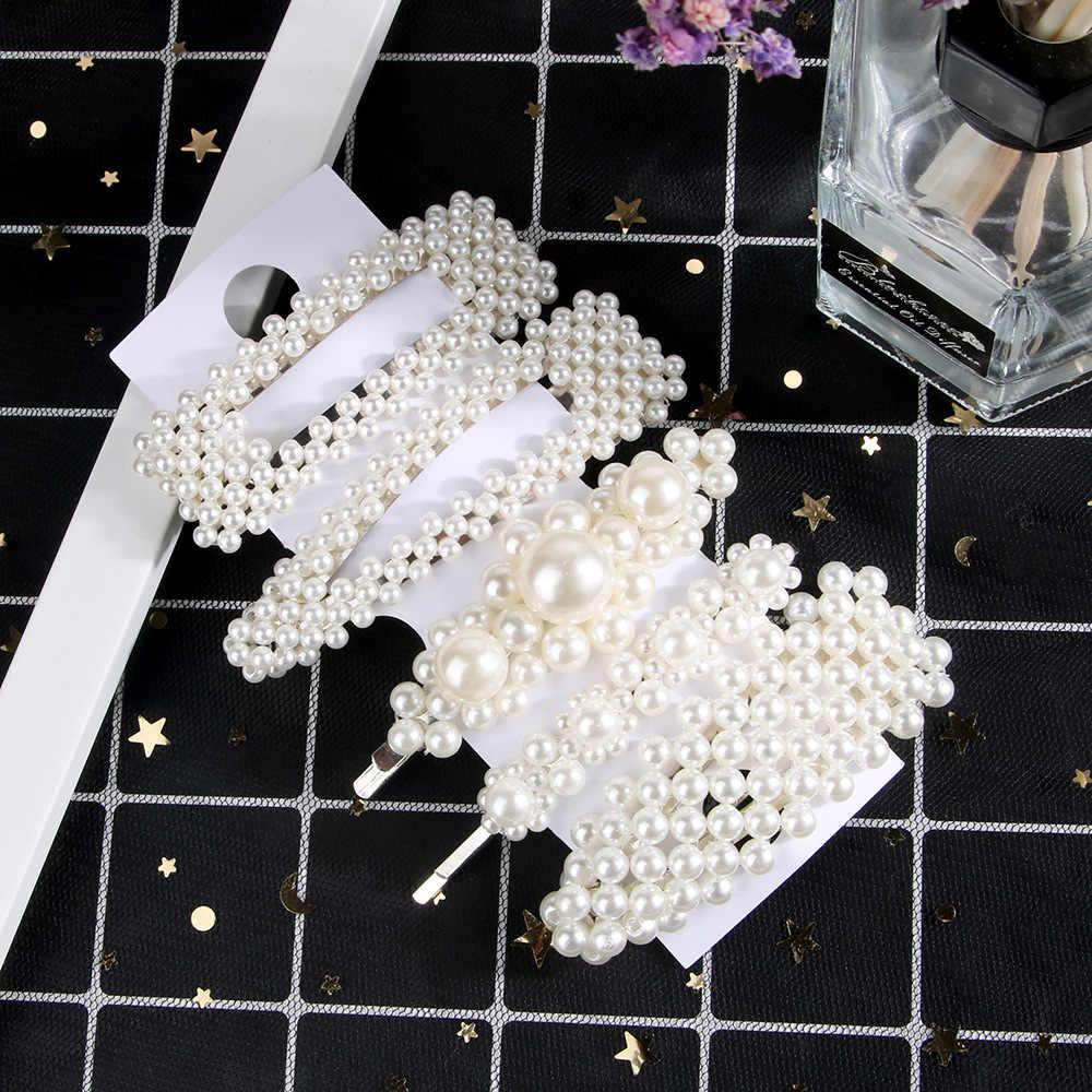 Fashion 8 Gaya Wanita ABS Pearl Imitasi Beads Rambut Klip Barrette Jepit Rambut Styling Aksesoris Buatan Tangan untuk Anak Perempuan