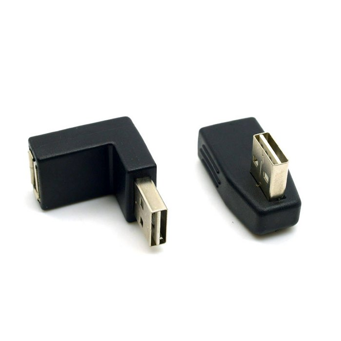 USB 2.0 A Type Male to Female Extension Adapter Down & Up & Left & Right Angled Connector 90 Degree Reversible Design