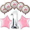 Niños niña niño niños niños fuentes del partido primero cumpleaños de la princesa estrella decoración Foil helio globos suministros