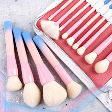 14Pcs/set Gradient Handle Makeup Brushes Soft Synthetic Hair Foundation Power Brush Set Facial Make Up Tools with Cosmetic Bag