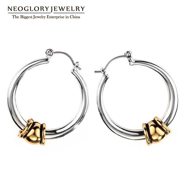 Neoglory Fashion Hoop Earrings For Women Charm Two Tone Jewelry Brand Wholesale 2017 New FA