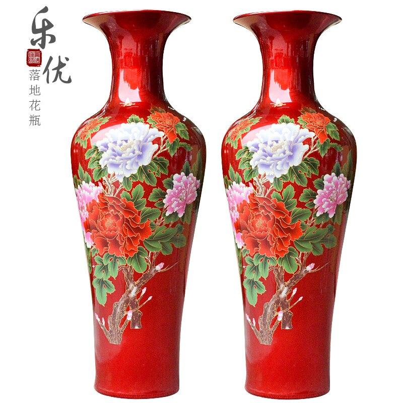 jingdezhen de cermica de cristal rojo esmalte peona florero moderno muebles para el hogar de aterrizaje