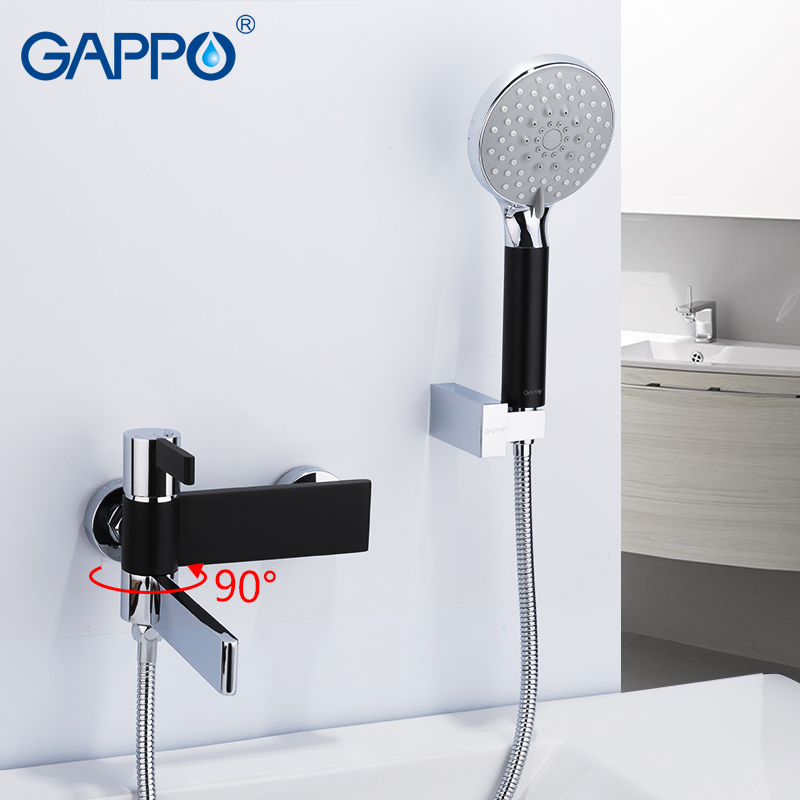 GAPPO Sanitary Ware Suite do anheiro taps black and chrome wall mounted shower faucet brass bathroom rainfall shower bathtub