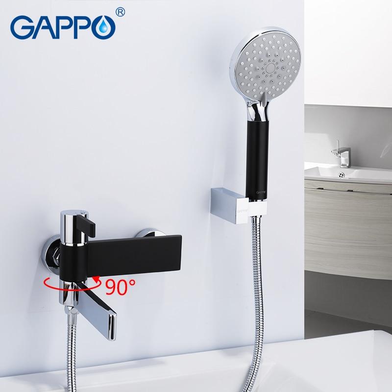 GAPPO Sanitary Ware Suite do anheiro taps black and chrome wall mounted shower faucet brass bathroom rainfall shower bathtub