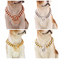New Fashion 15mm Wide 316L Stainless Steel Curb Cuban Link Chain Pet Dog Collars Necklace Silver/Gold/Rose Gold Tone 12-36inch