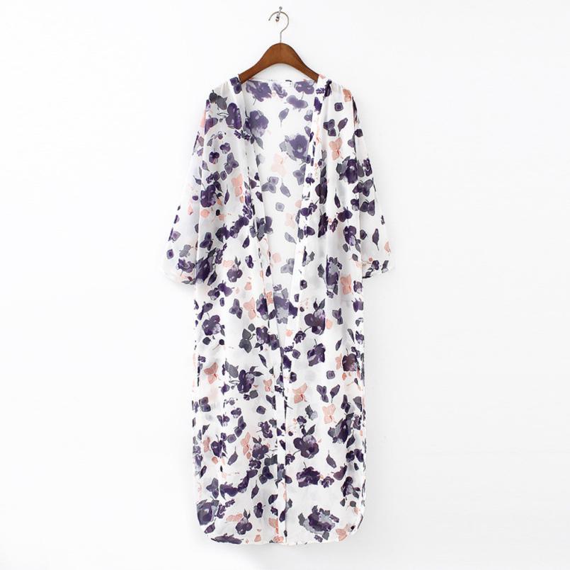 Блузка Цветочный Печатных Шифон Кимоно Женские Блузки Летняя Мода женская Случайные Свободные Кимоно Кардиган Леди Топы Cover up # ДЖО
