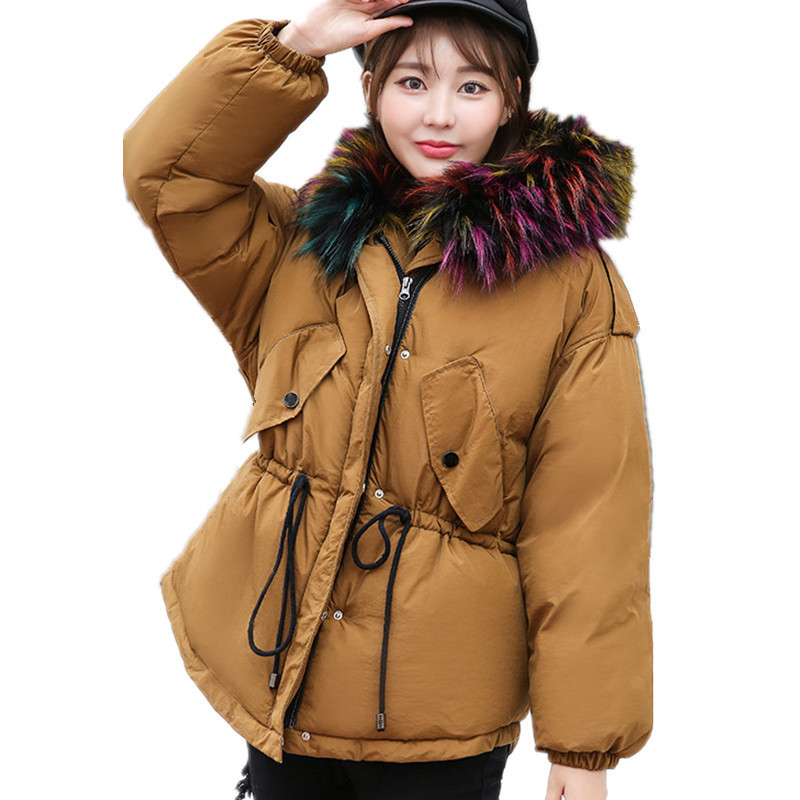 Winter Female BF Loose Big Size Fur Collar Short Parka Hooded Jacket Women Padded Cotton Thick Winter Jacket Basic Coat TT3187 2013 winter fashion female short doll style real rex rabbit fur collar thick cotton padded jacket loose cape cloak coat d2031