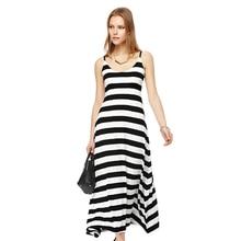 2016 Summer New Casual Women Long Maxi Black White Striped Dress Vest dress regular Hem Beach Dress