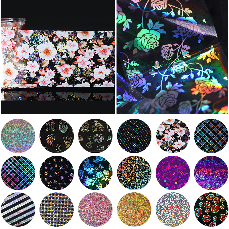 4*100cm Holo Starry Nail Foil Nail Art Transfer Sticker Holographic Manicure Sticker Decoration DIY 1 roll 4cm 120m gold silver holo starry sky nail foil tape nail art transfer sticker nail art decoration tools