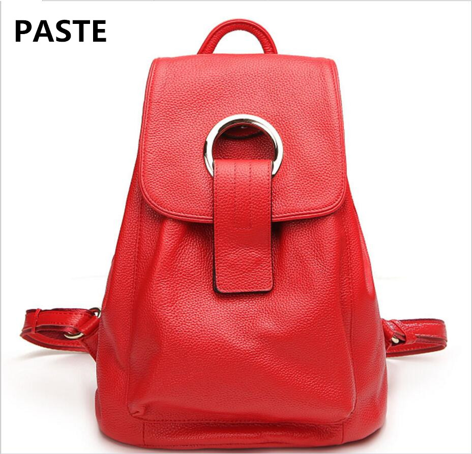PASTE 2017 New Female Bag Fashion First Layer of Leather Shoulder Bag Female Casual Leather Backpack College Female Travel Bag paste new leather handbags first layer of leather shoulder bag messenger bag handbag white casual bag female shoulder bag