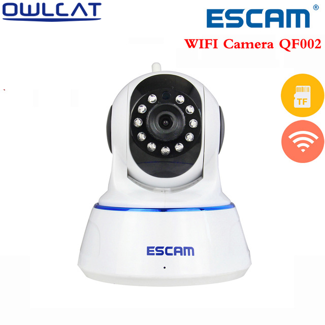 Escam QF002 HD 720P WIFI Wireless   IP Camera IR cut onvif Dome Security CCTV indoor Camera  Pan Tilt with Micro SD Card Slot escam hd 720p ir night vision ir cut 1 0mp wireless wifi ip camera pan tilt security mini indoor camera support 32g card qf001