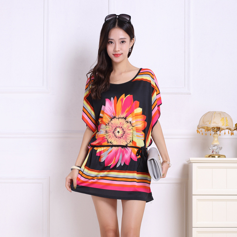 Xiaying Smile Women Biank Maternity Short Dress Female Fashion All-Match Sexy loose Big Tie-dyed Striped Dresss Short Sleeve fashionable tie dyed short sleeve t shirt for women