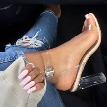 Large 42  Newest Women Pumps Celebritys Wearing Simple Style PVC Clear Transparent Strappy Buckle Sandals High Heels Shoes Woman