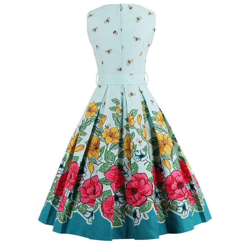 VESTLINDA Midi Floral Print Pin Up Dress Women Vintage Party Dresses with Belt A-Line Sleeveless Vestidos Plus Size Summer Dress 2