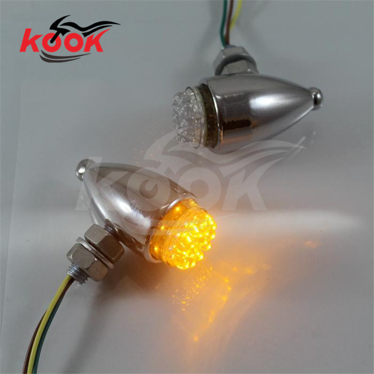 yellow lighting metal Cruiser Chopper silver chrome Scooter flashers for harley Davidson motorcycle turn signal light moto LED