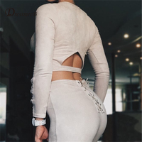 2016 Sexy Bodysuit Women Solid Color Backless Two Piece Combinaison Femme Rompers Womens Jumpsuit Plus Size