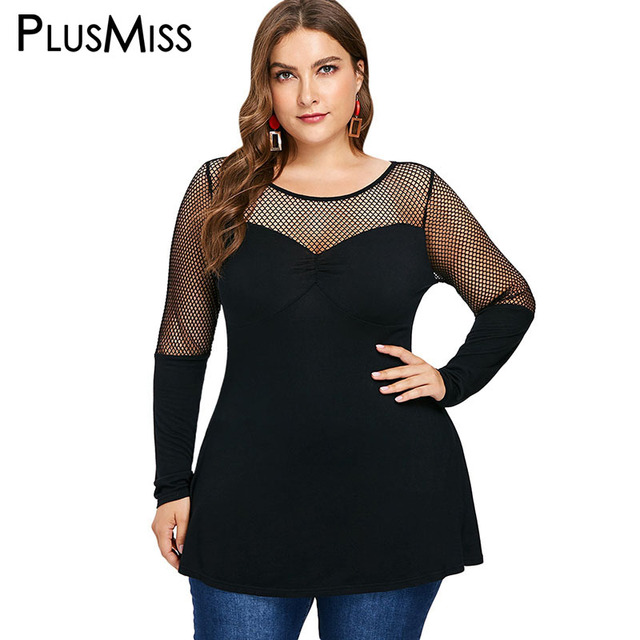 212c7960 PlusMiss Plus Size 5XL Fishnet Mesh Sexy Tunic Tops Tees Women Big Size  Long Sleeve See Through T Shirts Autumn XXXXL XXXL XXL