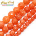 Wholesale Faceted Orange Stone 4mm 6mm 8mm 10mm 12mm Loose Beads For Jewelry Making 15inches DIY Jewellery F00494