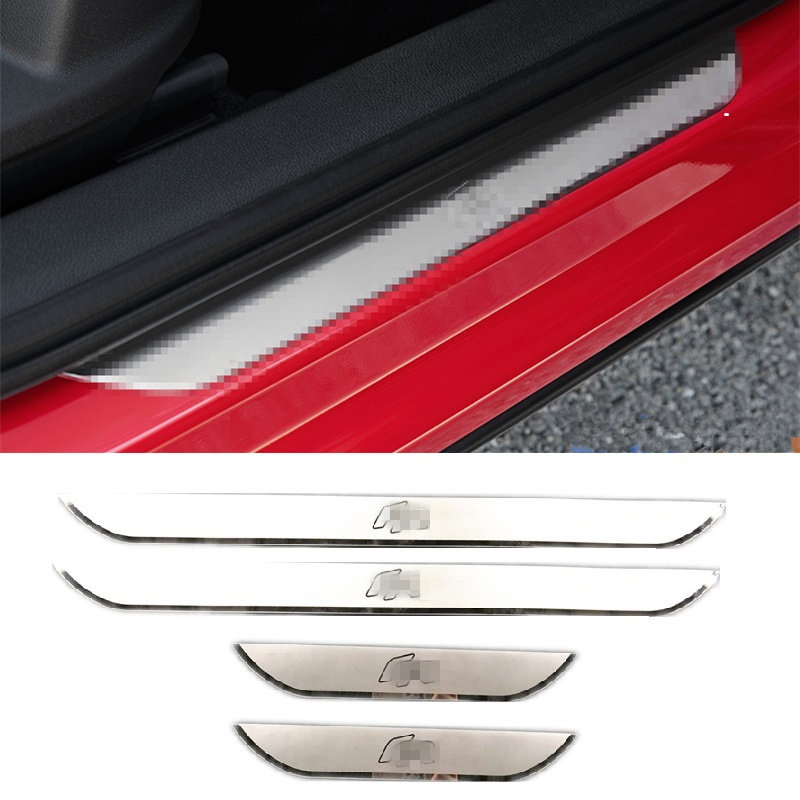For SEAT LEON ARONA ATECA FR Steel Door Sill Scuff Plate Door Sill Guard Protector Thresold Cover Trim 4pcs with Logo YGAODWQ