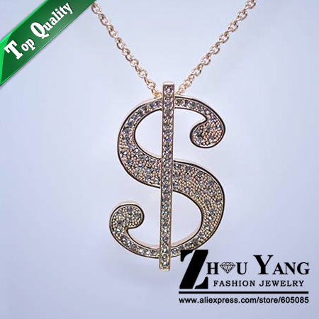 M031 The Dollar Sign Sweater Coat Chain Rose Gold Color Pendant Necklace Jewelry Austrian Crystal Wholesale