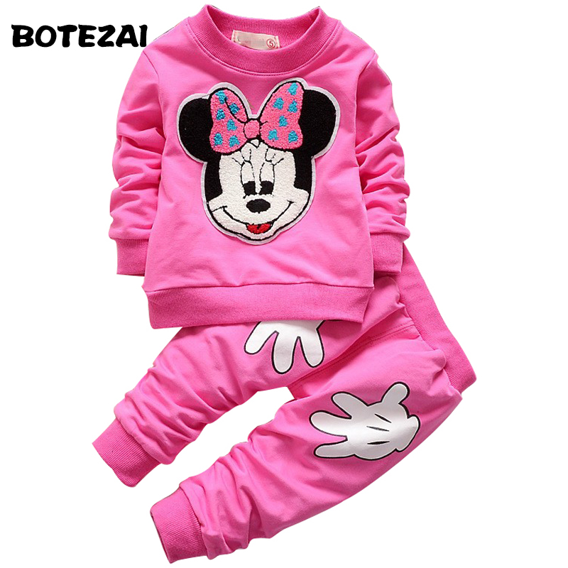 2017 Spring Autumn Children Clothing Set girls sports suit baby girls tracksuit Cartoon Minnie Children Clothes Set kids cloth lavla2016 new spring autumn baby boy clothing set boys sports suit set children outfits girls tracksuit kids causal 2pcs clothes