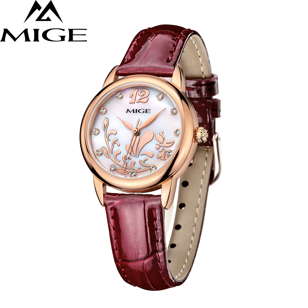 все цены на Mige Brand 2017 Women Luxury Quartz Clock Pink White Blue Leather Buckle Ladies Wristwatches Waterresistant Fashion Casual Watch онлайн