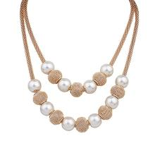 Women Double Layers Mesh Chain Round Faux Pearl Ball Charms Necklace Fashion Jewelry vintage faux pearl embellished body chain for women