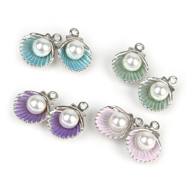 11*15mm 10/12pcs/bag  Mix Colour Zinc Alloy Metal Enamel Shell Charms Pendant for DIY Earring Bracelet Jewelry Findings