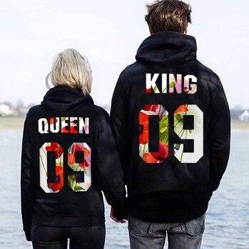2018 ใหม่ King และ Queen 09 คู่รักคู่ตัวอักษรพิมพ์ผู้ชายผู้หญิงคนรักฝ้าย Hoodies สีดำ