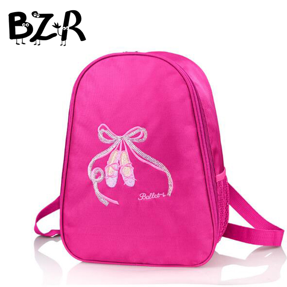 Bazzery Child Ballerina Backpack Embroidery Shine Sequins Shoes Kids Ballet Bag Waterproof Canvas Bow-kont Dance Bags For Kids