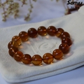 16.96g+16beads+diameter12.3mm+Natural burmese amber men bracelets certificated+Goldbrown color+burmite+handmade+unique gift M14