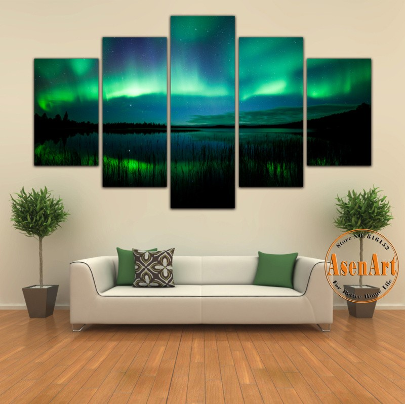 Aurora Borealis Canvas Print Painting Beautiful Landscape Scenery 5 Panels Wall Art HD Poster and Prints Paintings Unframed