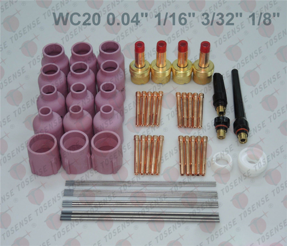 60 pcs TIG Torch Large Gas Lens WP-17/18/26 WC20 Tungsten 0.04 1/16 3/32 1/8
