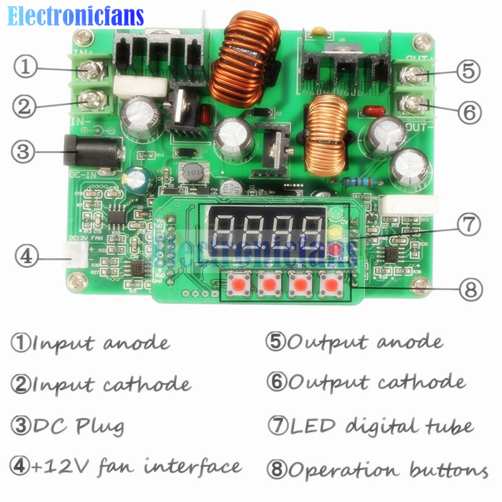 Dc Adjustable 10 40v To 0 38v Digital Step Up Down Power Wiring Diagram Supply Boost Buck Converter Module Solar Charging Led Voltmeter In Integrated Circuits From