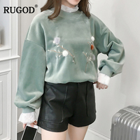 RUGOD 2018 Fashion Velvet Christmas Sweater With Lace Trim Ruffle Women Sweaters Pullovers Embroidery Floral Cashmere Sweater