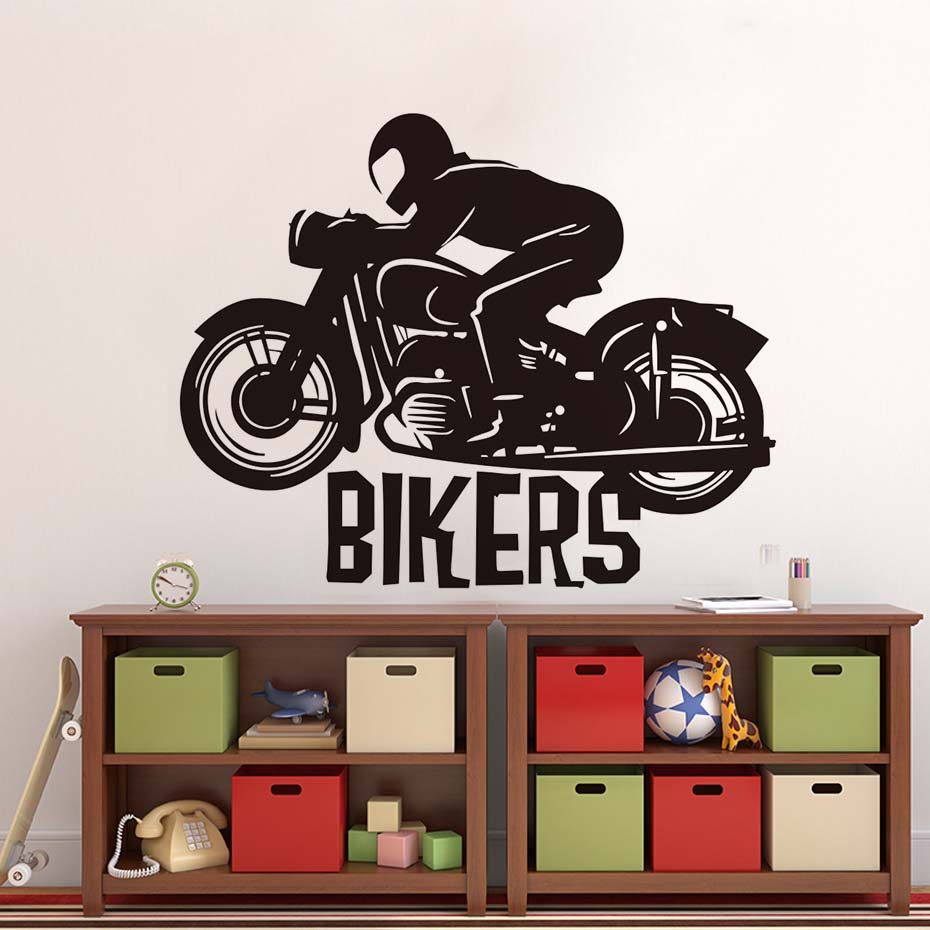 Motorcycle Racing Driver Vinyl Adhesive Wall Sticker Funny Bikers Bedroom Decorative Wall Decals Home Decor For Kids Room