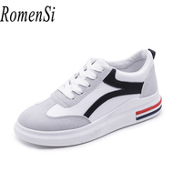 RomenSi Brand 2018 Women New Arrival Sneakers Breathable Round Toe Casual Walking Shoes Student Platform Flats