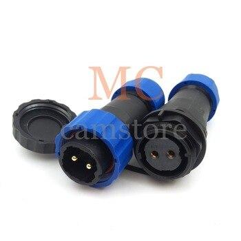 Conector a prueba de agua SD20 de 2 pines, 2 cables de cable LED a conector de cable, 2 hilos industriales macho hembra adaptador IP68 LED