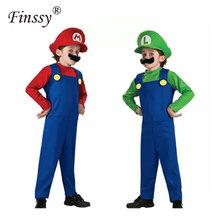 Kostiumy na Halloween śmieszne Super Mario Luigi brat kostium dla dzieci dzieci chłopcy dziewczęta Fantasia Cosplay kombinezon tanie tanio Spodnie Zestawy Poliester Anime Mario Cosplay Costume Finssy