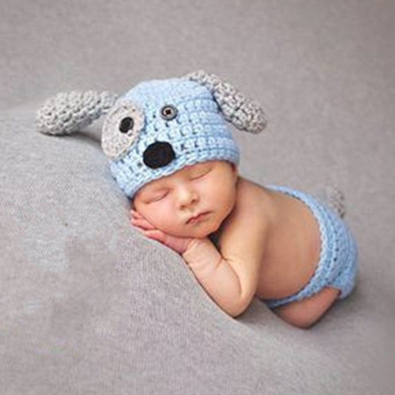 6ab79f2917a Newborn Photography Props Baby Khawaii Dog Hat Costume Set with Bone White  Blue Knitted Beanies Infant Photography Accessories-in Hats   Caps from  Mother ...
