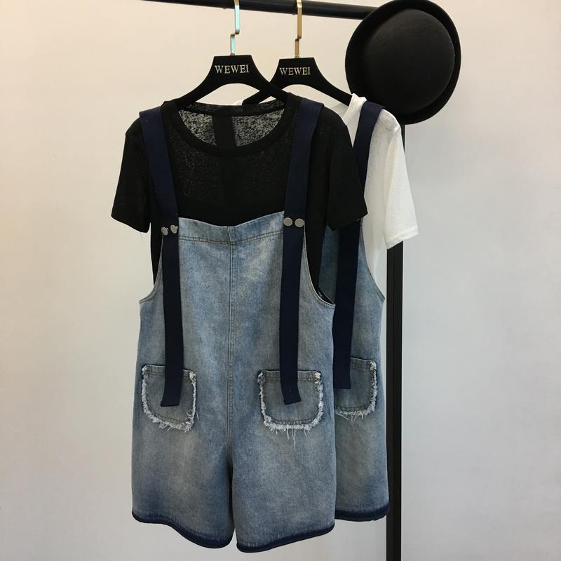 2019 New Women Denim Shorts Overalls Fashion Female Casual Loose Slim Pockets Straps Jeans High Waist Large Size 4XL 5XL M66