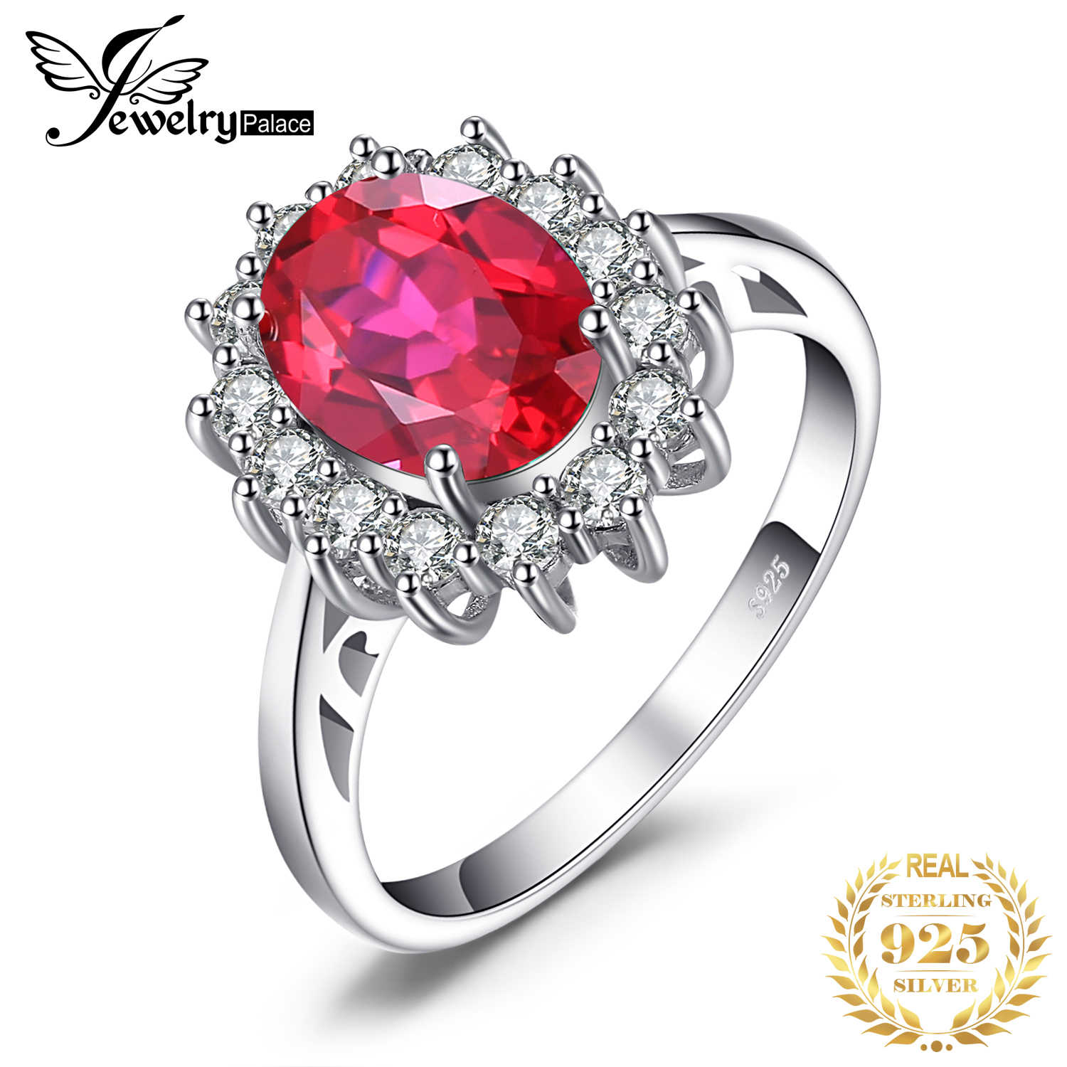 JewelryPalace Princess Diana William Engagement Wedding Created Red Ruby Ring Set Pure Solid Genuine 925 Sterling Silver Jewelry