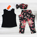 New Summer Girls Children Clothing 1-7 Years Kids Clothes Sets Sleeveless Vest+Flower Pants + Headwear Three-Piece Suits Fashion