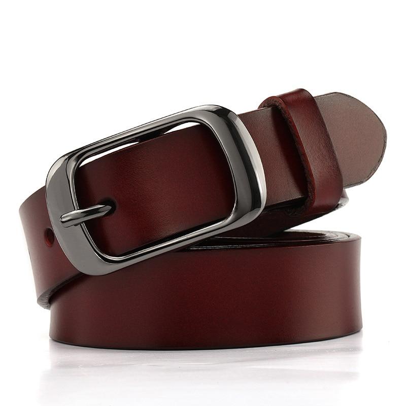 Red 2.8cm wide belt fashion leather pin buckle women's belt big size leather belt lengthening simple casual wear black 125cm