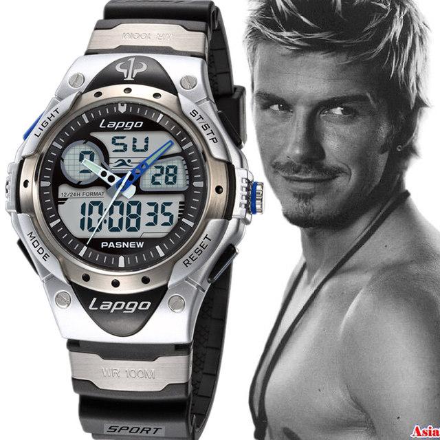 Pasnew 2017 nuevo deporte hombres reloj de pulsera analógico digital de natación de buceo 100 m profunda impermeable pantalla led luminoso relojes de cuarzo