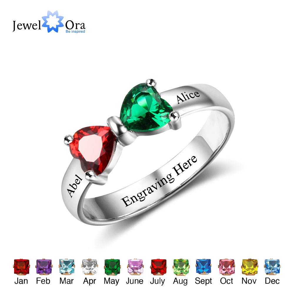 Promise-Rings Jewelry Girlfriend Birthstone for Engrave-Name Custom Engrave-Name
