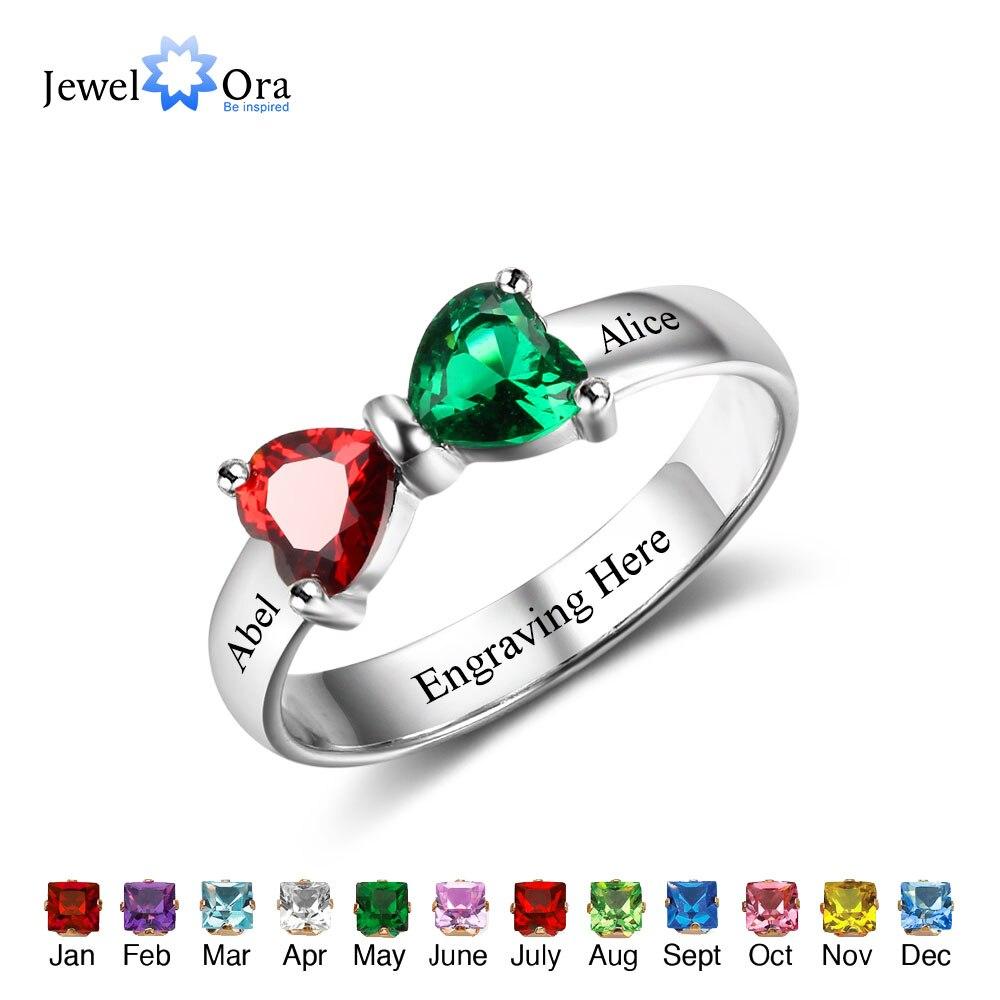Обещание Кольца Персонализированные ювелирные изделия выгравировать имя на заказ камень 925 стерлингов Серебряные кольца для подруги (JewelOra ...